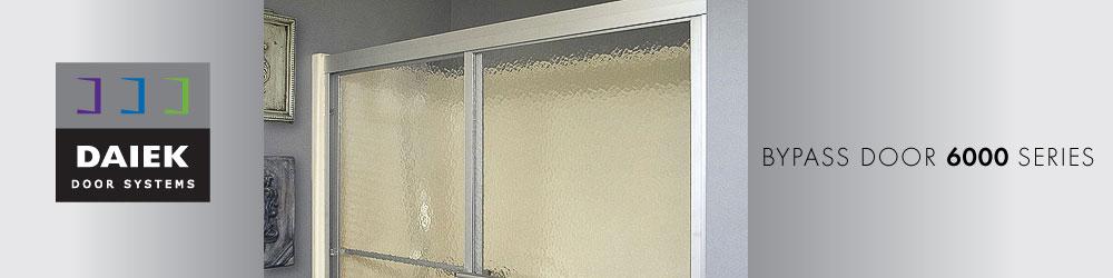 framed glass bypass shower door